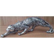 Peça Decorativa em Gesso Metalizado – Tigre Deitado