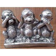 Peça Decorativa em Gesso Metalizado – Trio de Macacos