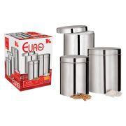 Porta Mantimentos 3 peças Euro Home Inox