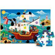 Quebra-Cabeça Madeira Navio Pirata Mágico 48 Pecas