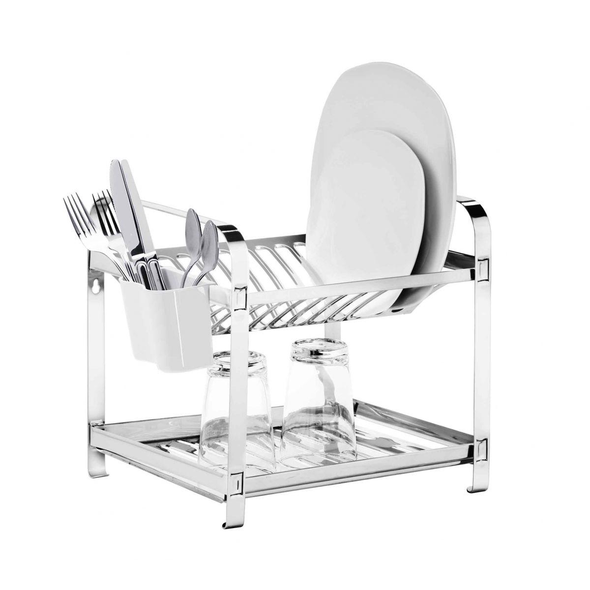 Escorredor  12 pratos Montado Inox com Porta Talheres em Plástico Mak-Inox