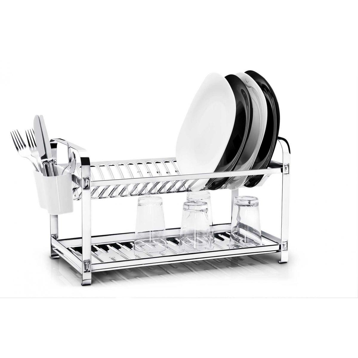Escorredor  20 pratos Montado Inox com Porta Talheres em Plástico Mak-Inox