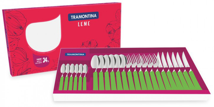 Faqueiro Leme 24 peças Verde - Tramontina