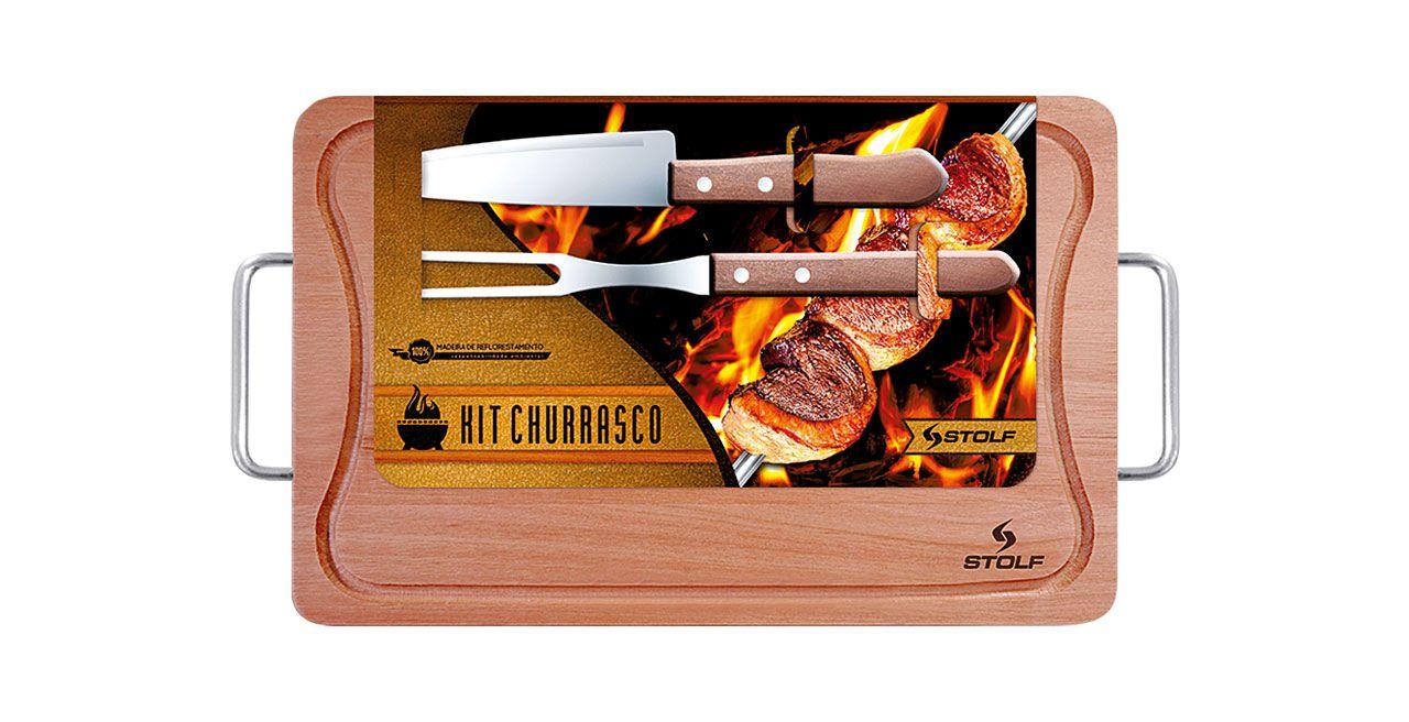 Kit Churrasco 39x25cm com garfo e faca e com Cabo Alumínio Stolf