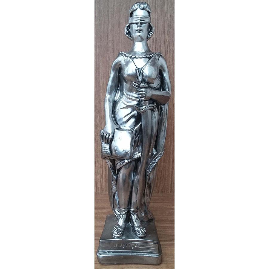 Peça Decorativa em Gesso Metalizado – Justiça