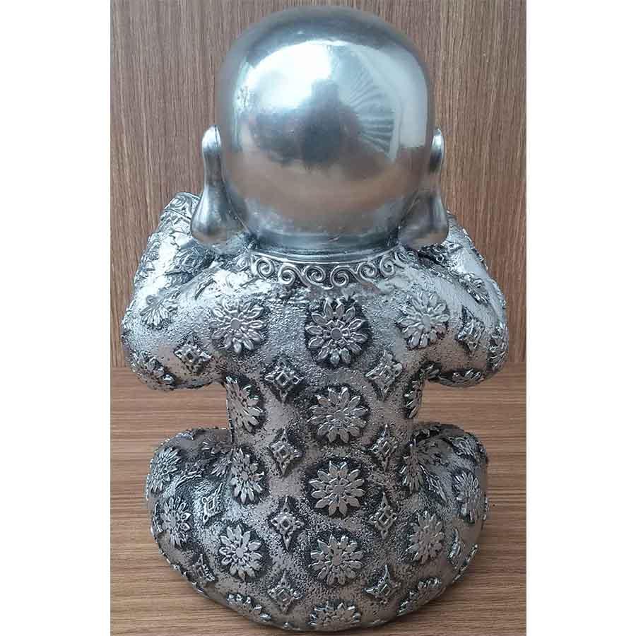 Peça Decorativa em Gesso Metalizado – Monge não vejo