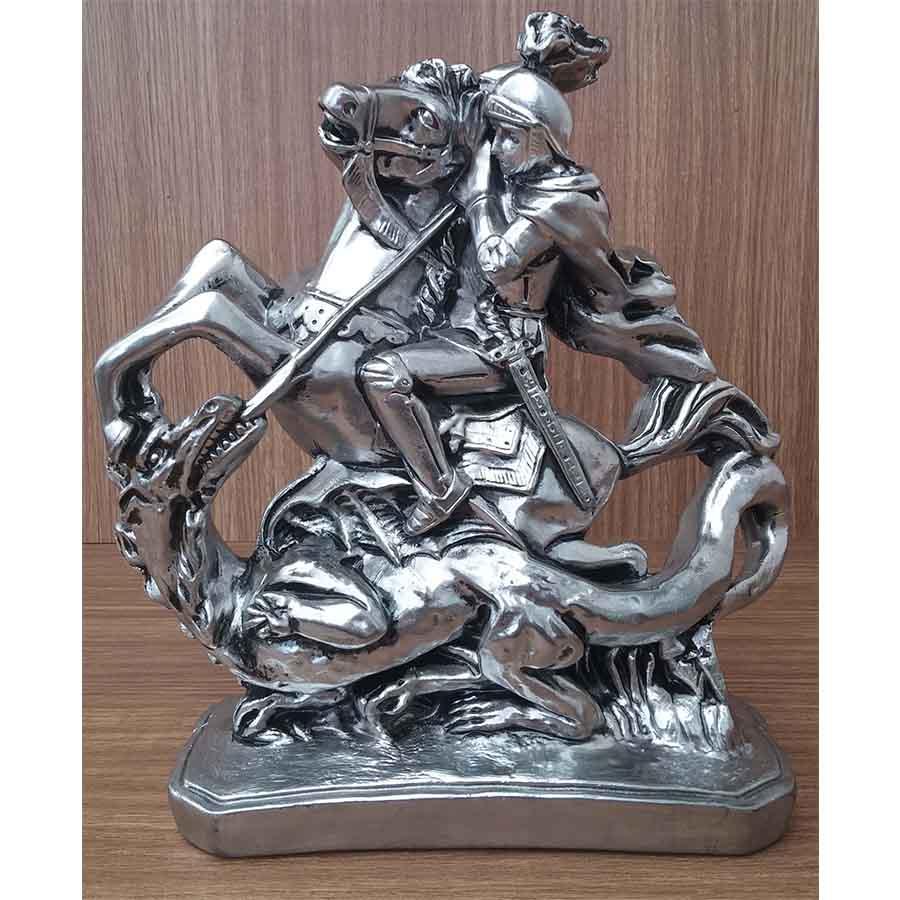 Peça Decorativa em Gesso Metalizado – São Jorge