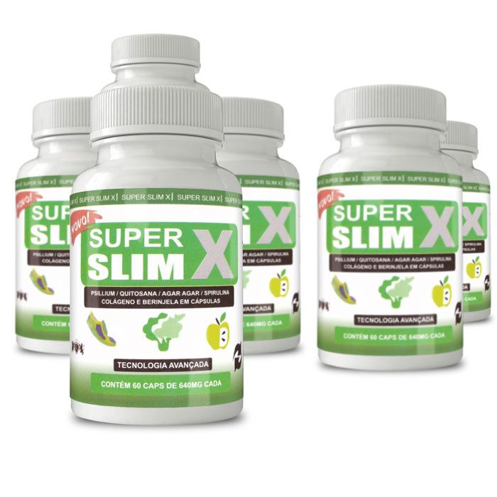 Super Slim X Original - 60 Cápsulas 640mg - Compre 4 Leve 6  - Composto Natural