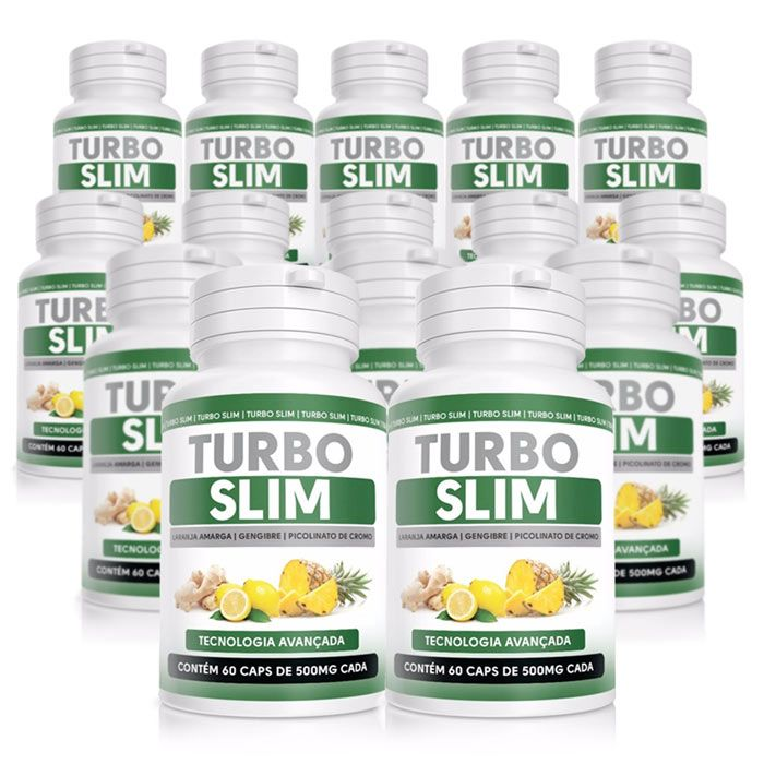 Turbo Slim Original - 60 Cápsulas 500mg - Compre 10 Potes Leve 15  - Composto Natural