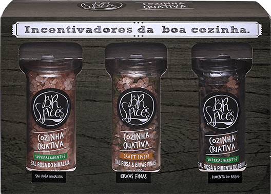 Kit Moedores Br Spices - Sal Rosa do Himalaia 100g - Sal Rosa e Pimenta do Reino 90g - Sal Rosa e Ervas Finas 100g