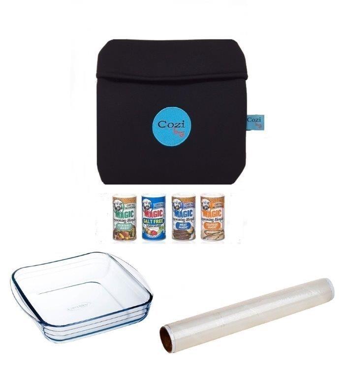 Super Kit Cozi Bag 1 Litro + Refratária 1 Litro  + Film + 4 Temperos Magic