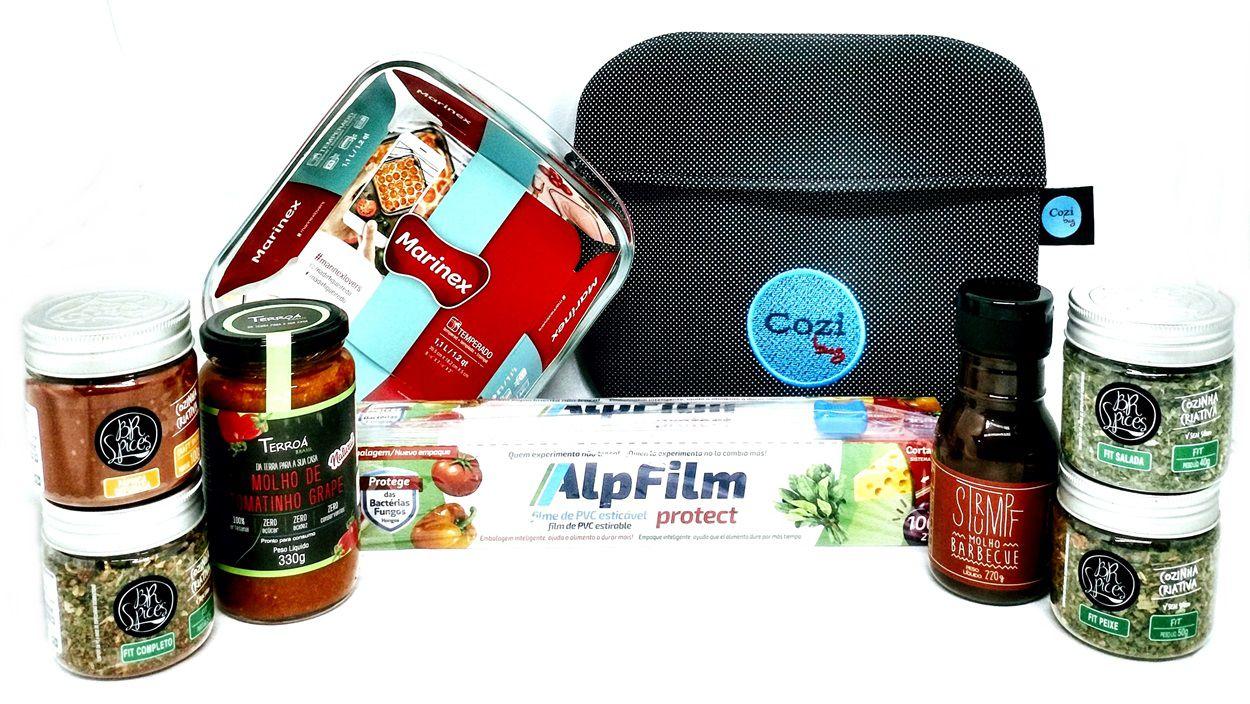 Super Kit Cozi Bag Universal 1 Litro + Refratária 1 Litro + 100 mts  de Filme + Temperos / Molhos