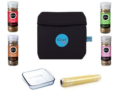 Super Kit Zero Sódio Cozi Bag 1 Litro + Refratária 1 Litro + 100 mts  de Filme + Temperos