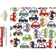 QUILT SUBLIMADO MODELO CARROS 02 - A4 C/ 1 PEDAÇO DE QUILT BRANCO SINTÉTICO
