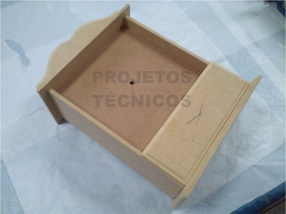 CAIXA MDF - MODELO RELÓGIO - 1 GAVETAS - 31X12,5X21