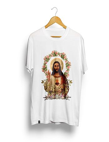 Camisa Poliéster Estampa Sublimática - Jesus - (PEQUENA 60A. X 45L. Cm). BRANCA