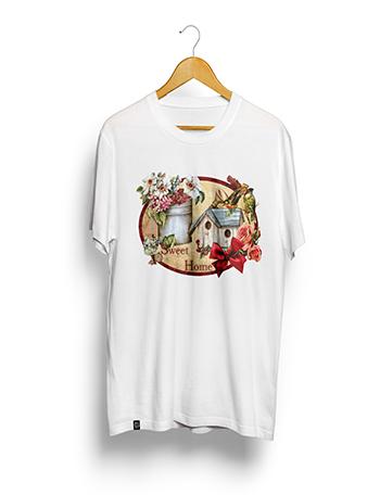 Camisa Poliéster Estampa Sublimática - Casa de Passarinho 03 - (GRANDE 70A. X 55L. Cm). BRANCA