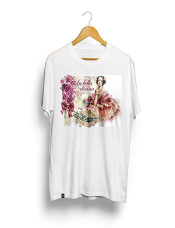 Camisa Poliéster Estampa Sublimática - La Bella Donna - (PEQUENA 60A. X 45L. Cm). BRANCA