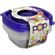 Pote Quadrado Alimentos Mantimentos POP - 4 unidades