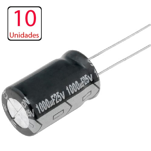 10x Capacitor Eletrolitico 1000uf X 25v * 1.000uf * 105ºc