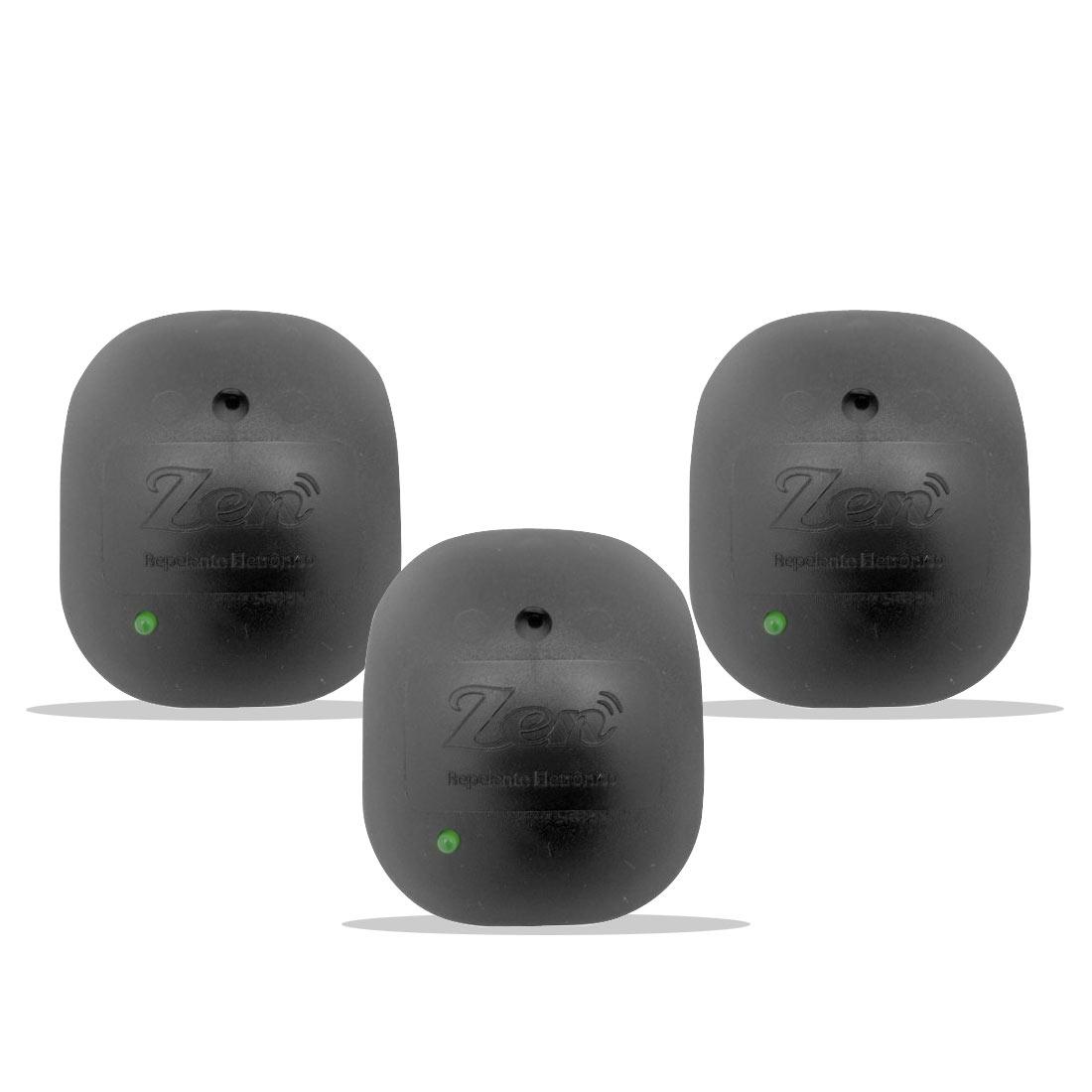 Repelente Eletrônico Zen Preto - Bivolt Inaudível - Econômico Leve - 3 Unidades