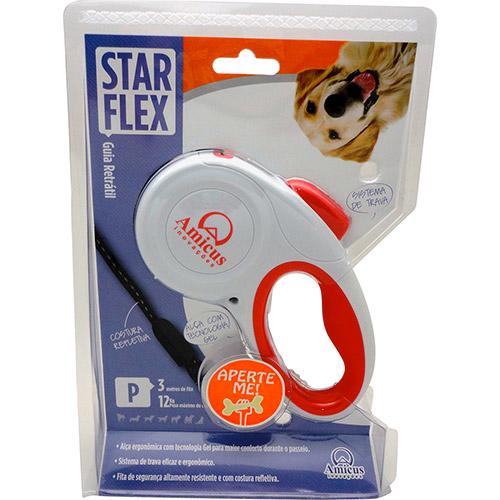 Guia Retrátil Star Flex - Vermelho e Branco - Tamanho P