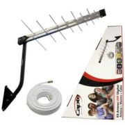 Kit Antena Digital 4K Log 16 com Mastro 50 cm e Cabo coaxial Capte 12 mts - 5 und.