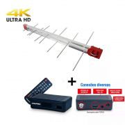 Antena Digital 4K Log 28 Elementos E Conversor Digital DTV4000