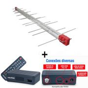 Antena Digital 4K Log 28 Elementos E Conversor Digital DTV4000S