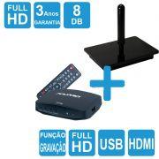 Antena Digital Interna 4K Capte Onix + Conversor e Gravador Digital DTV 7000S HDMI USB