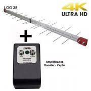 Antena Digital UHF 4K periódica Log 38 Elementos Capte Longo Alcance - Uso coletiva + Amplificador de Sinal