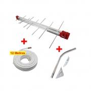 Kit Antena Digital 4K Externa Log 16 elementos Mastro 45 cm e Cabo Coaxial 12 metros