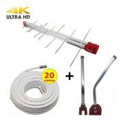 Kit Antena Digital 4K Externa Log 16 elementos Mastro 45 cm e Cabo Coaxial 20 metros