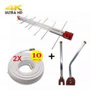Kit Antena Digital 4K Externa Log 16 elementos Mastro 50 cm e 2 Cabo 20 e mastro 45 metros