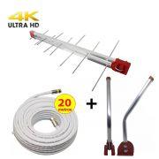 Kit Antena Digital 4K Externa Log 16 elementos Mastro 50 cm e Cabo Coaxial 20 metros