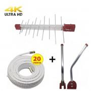 Kit Antena Digital 4K Externa Log 20 elementos Mastro 45 cm  Cabo Coaxial 20 metros Divisor 2x1
