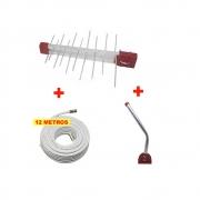 Kit Antena Digital 4K Log 20 com Mastro 45 cm e Cabo coaxial Capte 12 m