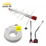 Kit Antena Digital 4K Log 20 com Mastro 45 cm e Cabo coaxial Capte 12 mts -