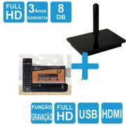 Kit Antena Digital 4K Onix e Conversor Gravador  HDMI Capte