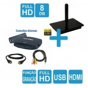 Kit Antena Digital 4K Onix e Conversor Gravador DTV-7000 HDMI Capte