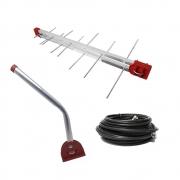 Kit Antena UHF Digital log 16 com Mastro 45cm e Cabo 12m