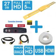 Kit Sinal Digital Antena Amplificada Ouro C/ Conversor Dtv 7000 Cabo 15m Capte