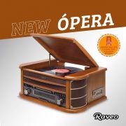 Vitrola Raveo New Opera BT com Bluetooth, Toca Discos, CD, FM, Fita K7, AUX, Converte Vinil e K7 em USB + Agulha Extra