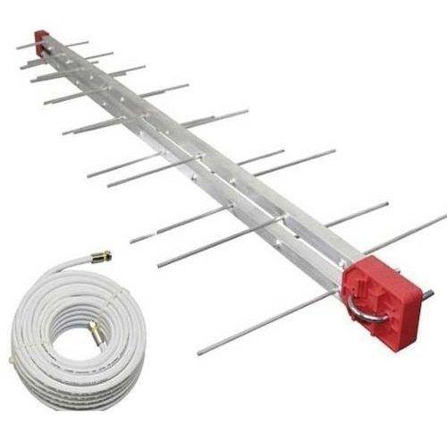 - Antena Externa Digital 4k Log 28 Elementos E Cabo 10 Metros + Mastro 45 cm