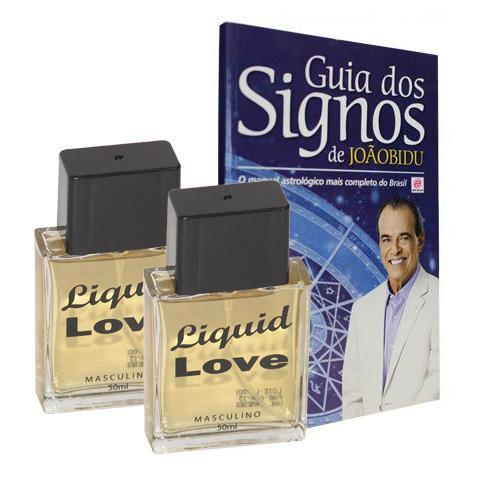2 Frascos de Liquid Love Man - Livro Guia dos Signos de João Bidu