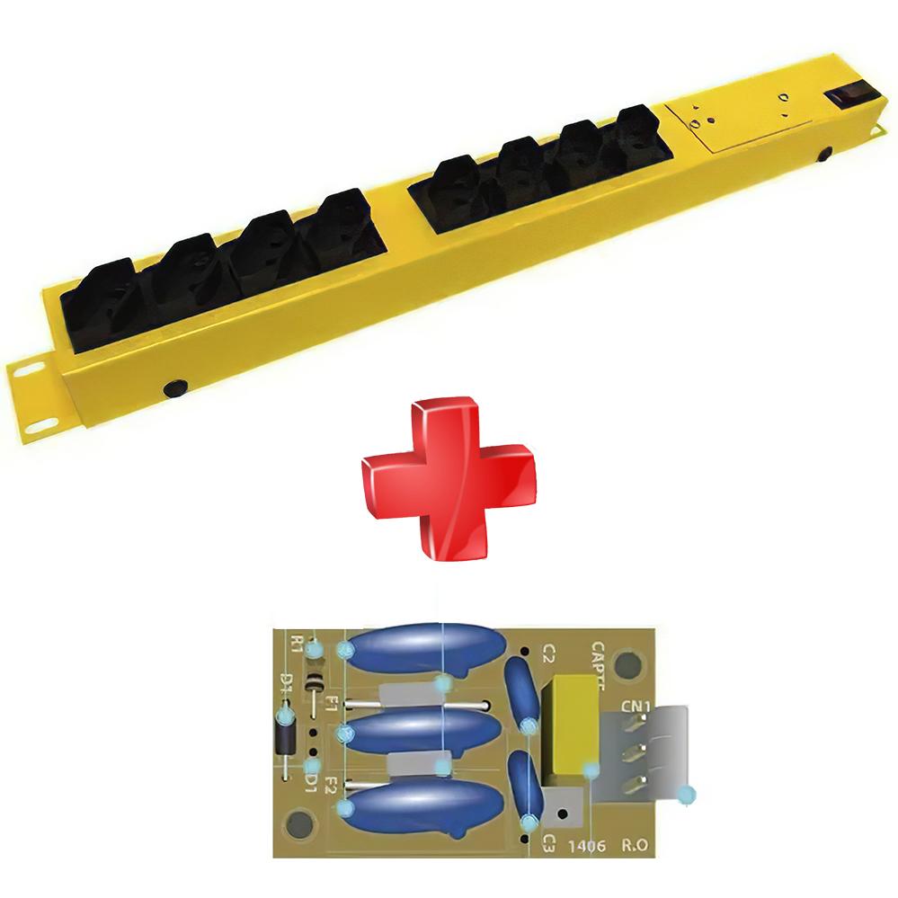 3 Filtro de linha TS10 Multi proteção e surtos 3 placas internas de substituição