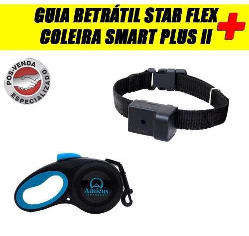 Coleira Smart Plus II Preta P+ Guia Retrátil Star Flex Azul