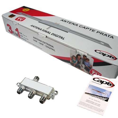 Antena Digital Externa Amplificada Prata 3em1 Vhf Uhf Digital + Divisor Sinal 3x1 - Capte