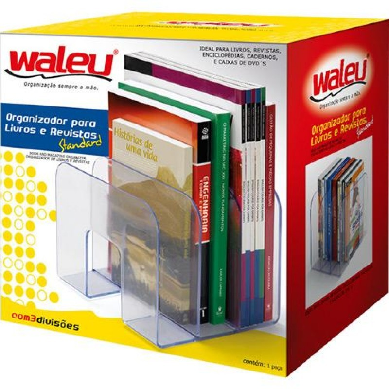 - 4 Unidades Organizador Triplo De Livros - Organizador Waleu