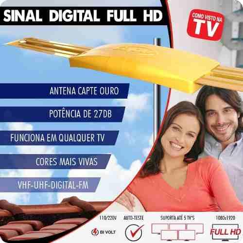 Antena Externa Amplificada Ouro - Sinal Digital HDTV Mastro 50 cm Articulável - Capte
